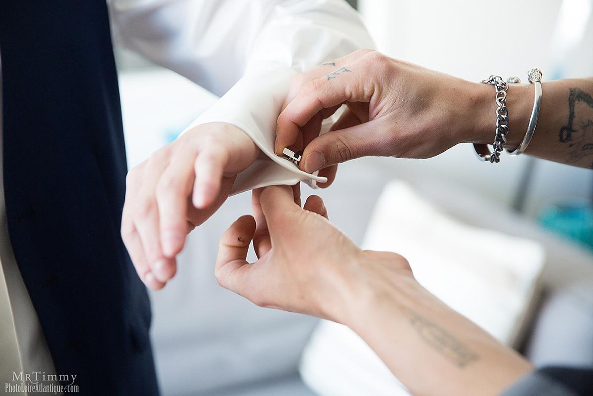 préparatif photographie mariage homme la baule mrtimmy photographe boutons manchette